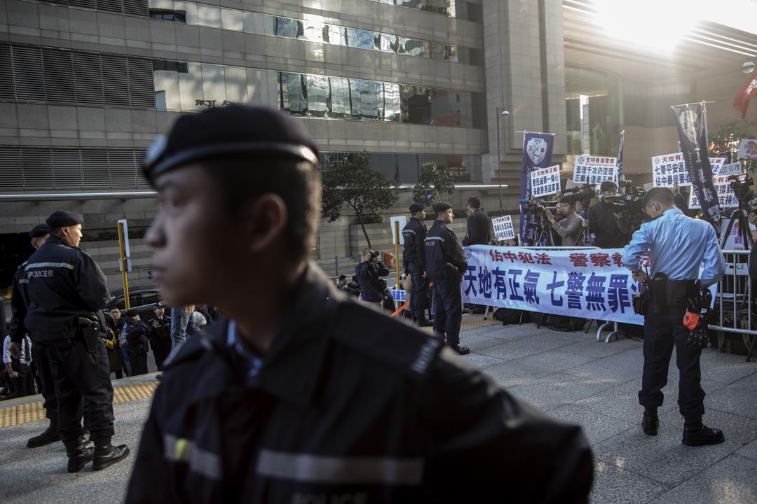 2017年2月14日,有團體到區域法院外聲援七警。