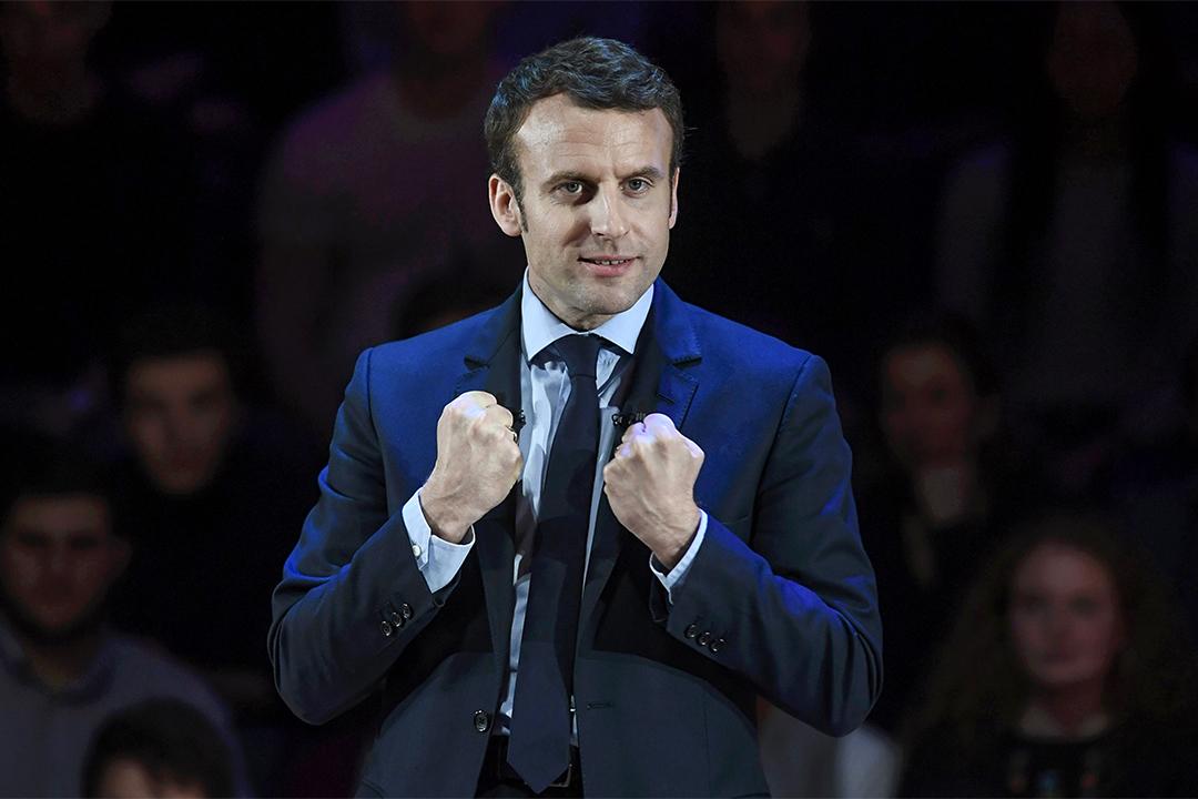2017年2月21日,2017年法國總統選舉的候選人馬克隆 (Emmanuel Macron) 於英國倫敦發表講話。