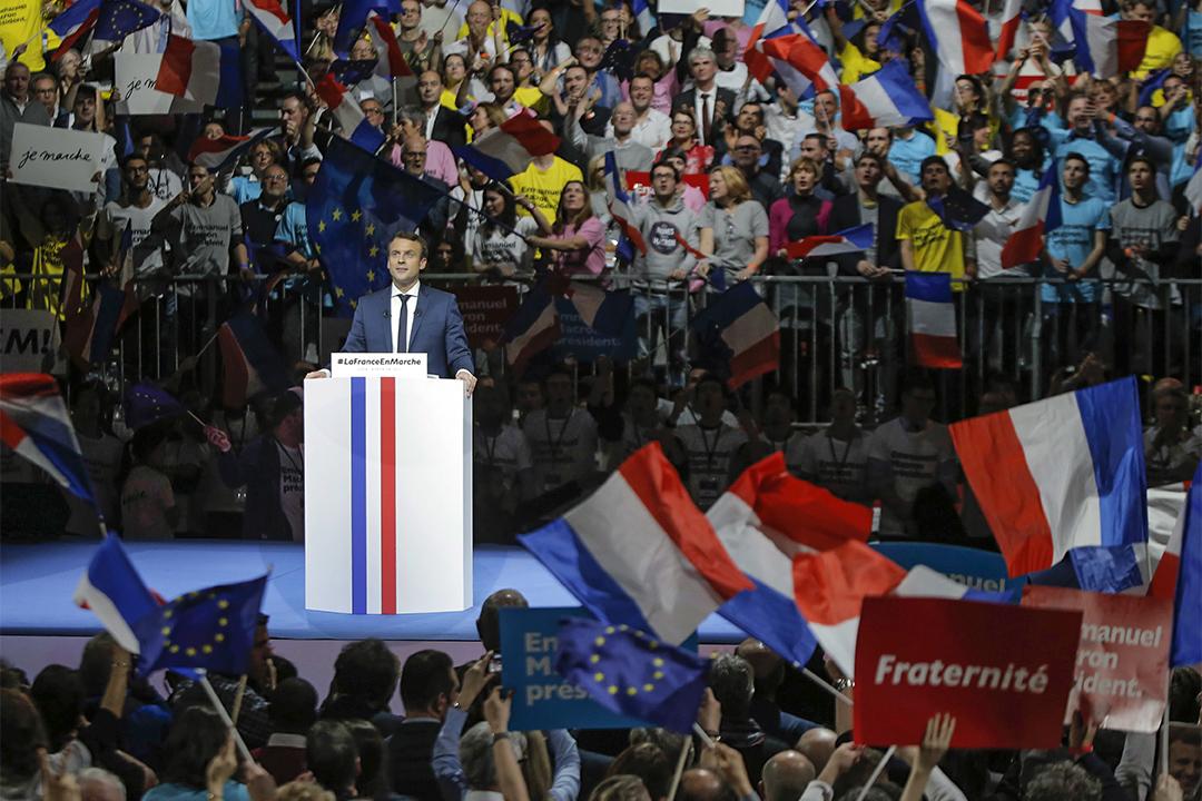 2017年2月4日,温和左翼的獨立參選人馬克隆在里昂舉行演講。
