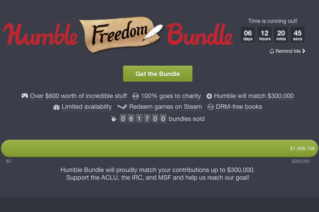 Humblebundle網站內發起活動,將會捐贈其銷售收入,以反對特朗普的入境禁令。