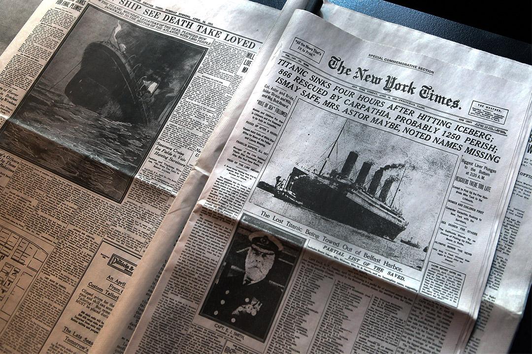 紐約時報在過去一個世紀以來,建構了美國新聞業的行業標準。圖為1912年的紐約時報報紙。