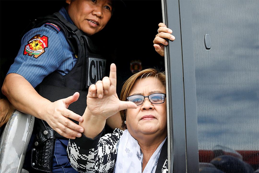 菲國前司法部長、現任參議員德利馬 (Leila de Lima) 以涉毒罪被捕。