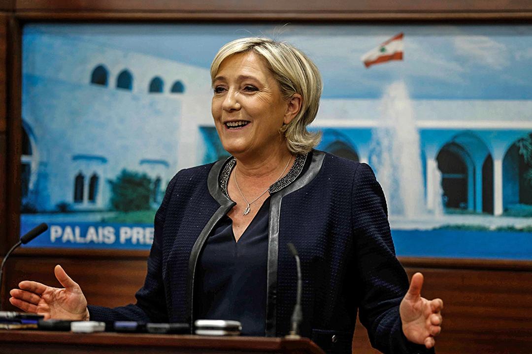 法國警方突擊檢查勒龐國民陣線總部。圖為2017年2月20日,勒龐出席黎巴嫩一個記者會。