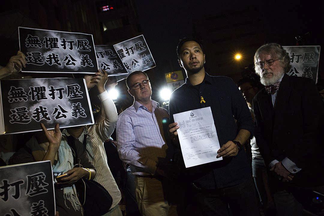 2016年5月30日,曾健超因在2014年佔領運動期間向警察淋潑液體,被九龍城裁判法院裁定一項襲警及兩項拒捕罪成,就這三個罪行判處監禁三週到五週,同期執行。他獲准以現金300元保釋等候上訴。