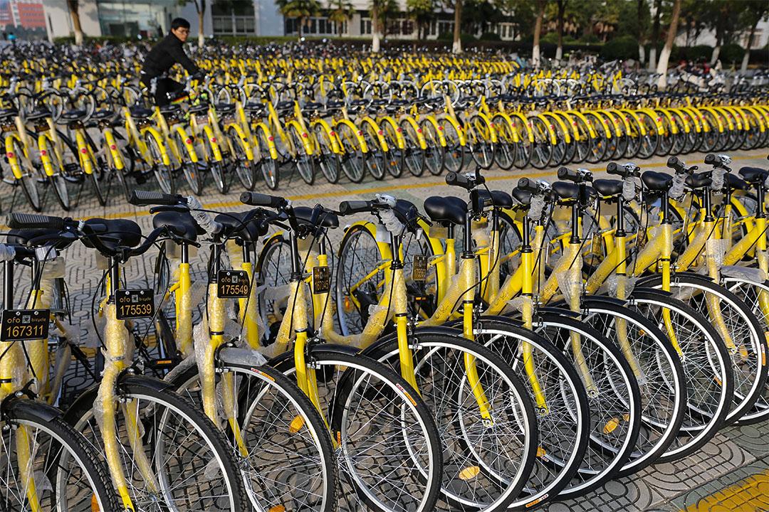 「摩拜單車」、「ofo單車」等在不到一年的時間內,紛紛獲得過億美元的資金支持。圖為在安徽安慶的ofo共享單車。