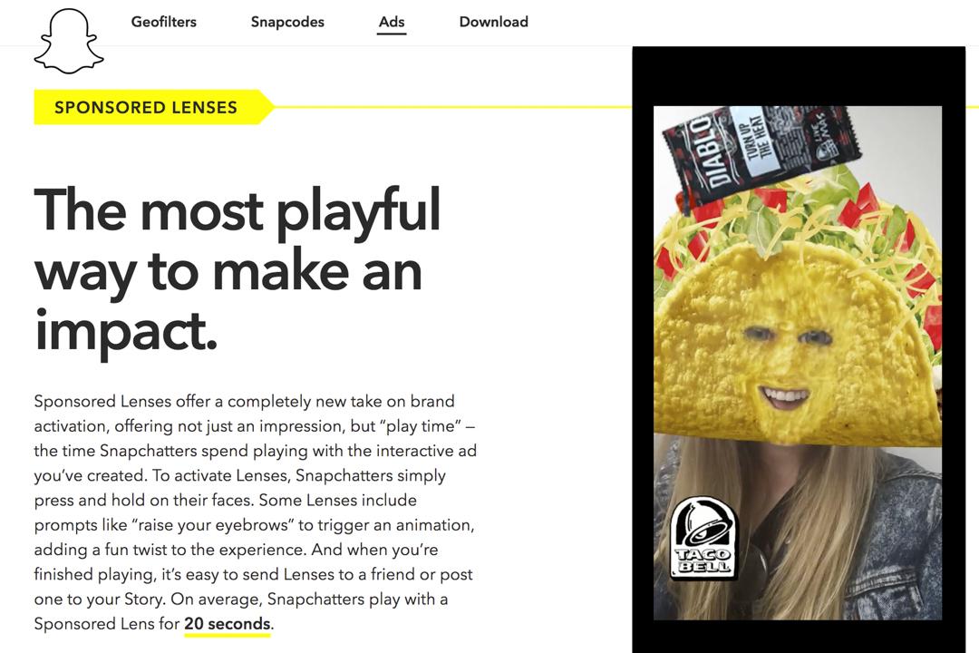 美國快餐連鎖品牌 Taco Bell 贊助推出的濾鏡,一天就收穫 2.24 億次的點閲。