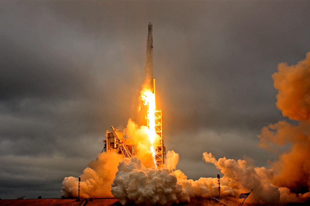 2017年2月19日,SpaceX獵鷹九號火箭在佛羅里達州甘迺迪太空中心升空。