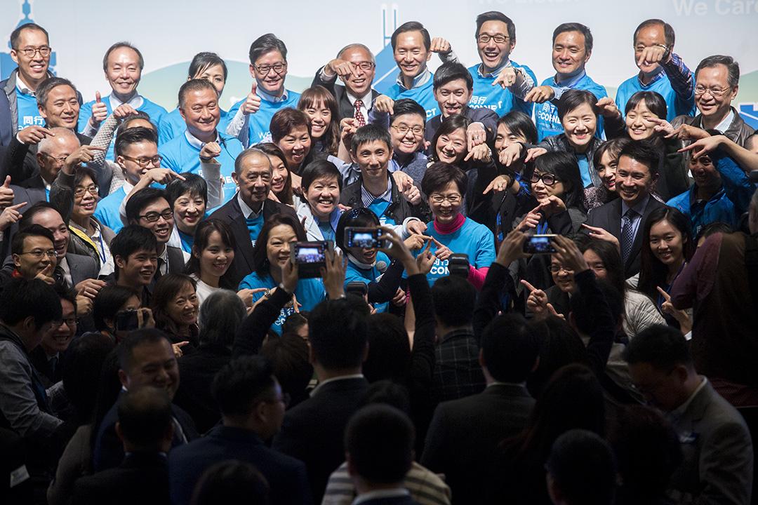 張德江欽點中央林鄭月娥。圖為林鄭月娥2月3日舉行的「競選分享會」。