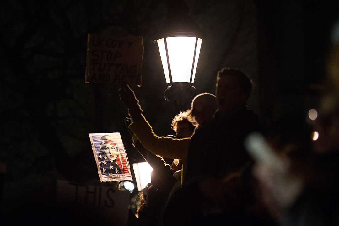 2017年1月30日,英國倫敦, 有示威人士聚集唐寧街外抗議,特朗普有關移民入境的行政命令。