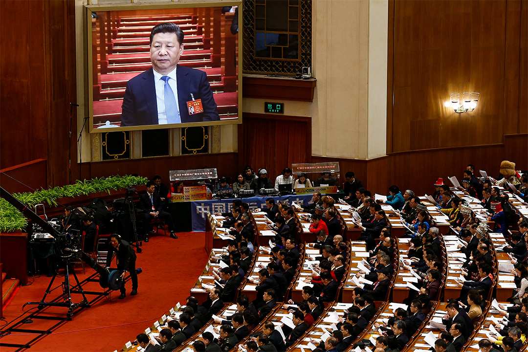 依十二屆全國人大五次會議的日程安排,今天下午將審議民法總則草案。圖為3月5日的全國人大會議場面。