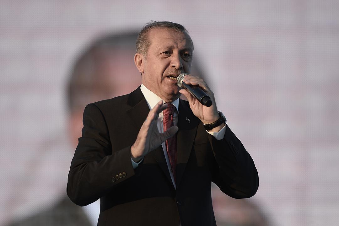 土耳其總統埃爾多安出席支持者的集會。