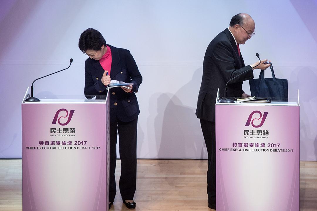 林鄭月娥與胡國興週日於特首選舉論壇首度交鋒。