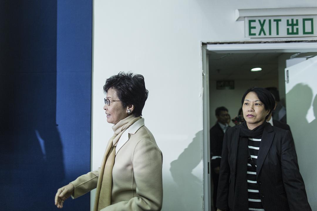 特首候選人林鄭月娥出席記協舉辦的選舉論壇。