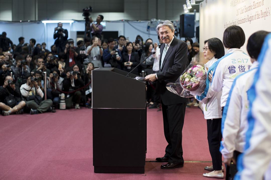 曾俊華於選舉落敗後召開記者會。