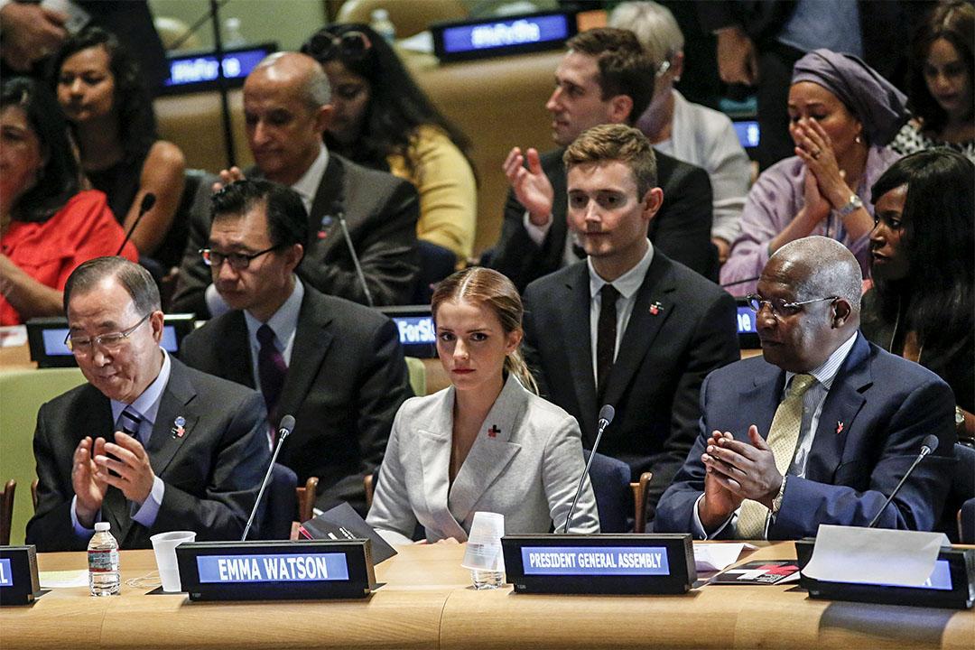 Emma Watson 擔任聯合國的親善大使,推動 HeForShe 倡議,鼓勵男性加入性別平權運動。