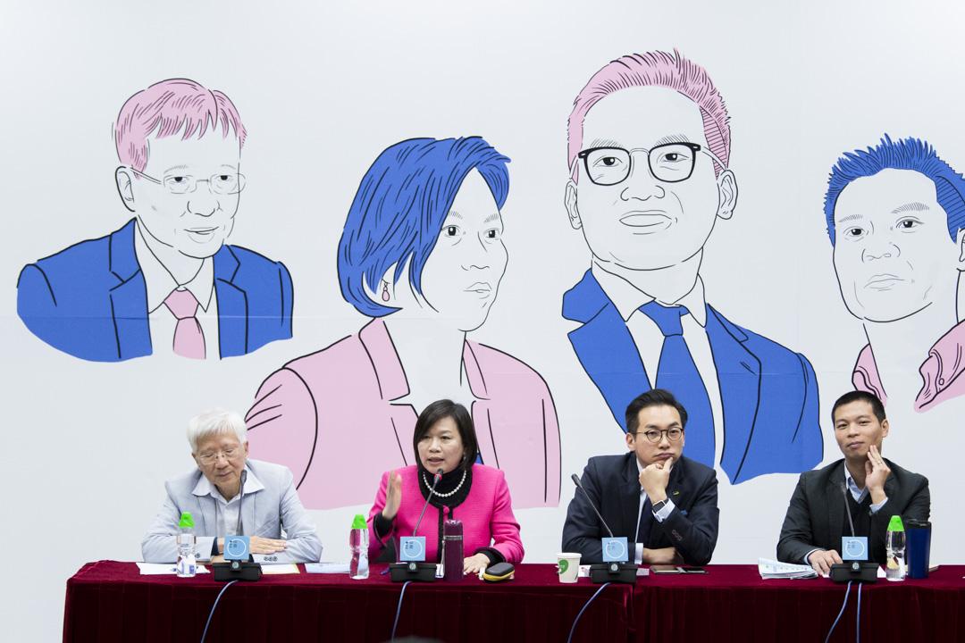 端傳媒與獨立評論人協會在香港浸會大學舉辦「2017特首選舉論壇」出席者包括宋恩榮、梁美芬、楊岳橋、呂秉權(左至右)。