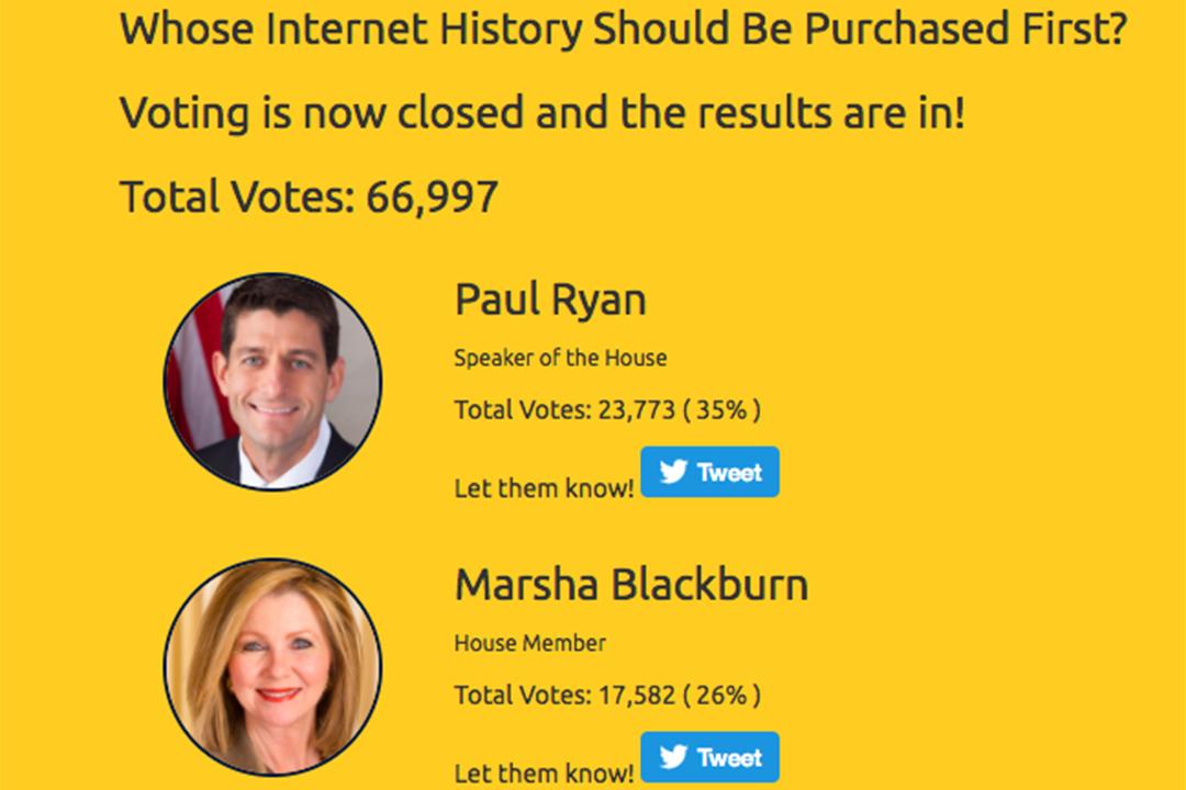 「 Search Internet history 」網站內有票選先買哪個政治家的瀏覽記錄。