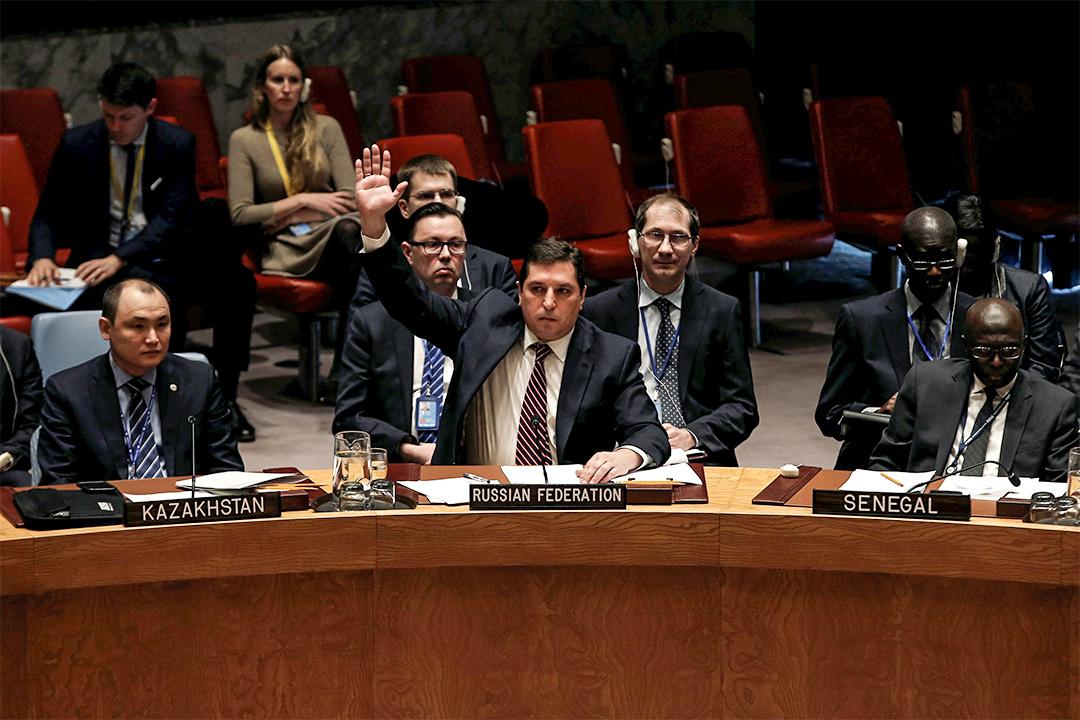 2017年2月28日,在美國紐約聯合國總部,俄國代表Vladimir Safronkov就聯合國議案制裁敘利亞使用化學武器提出反對。