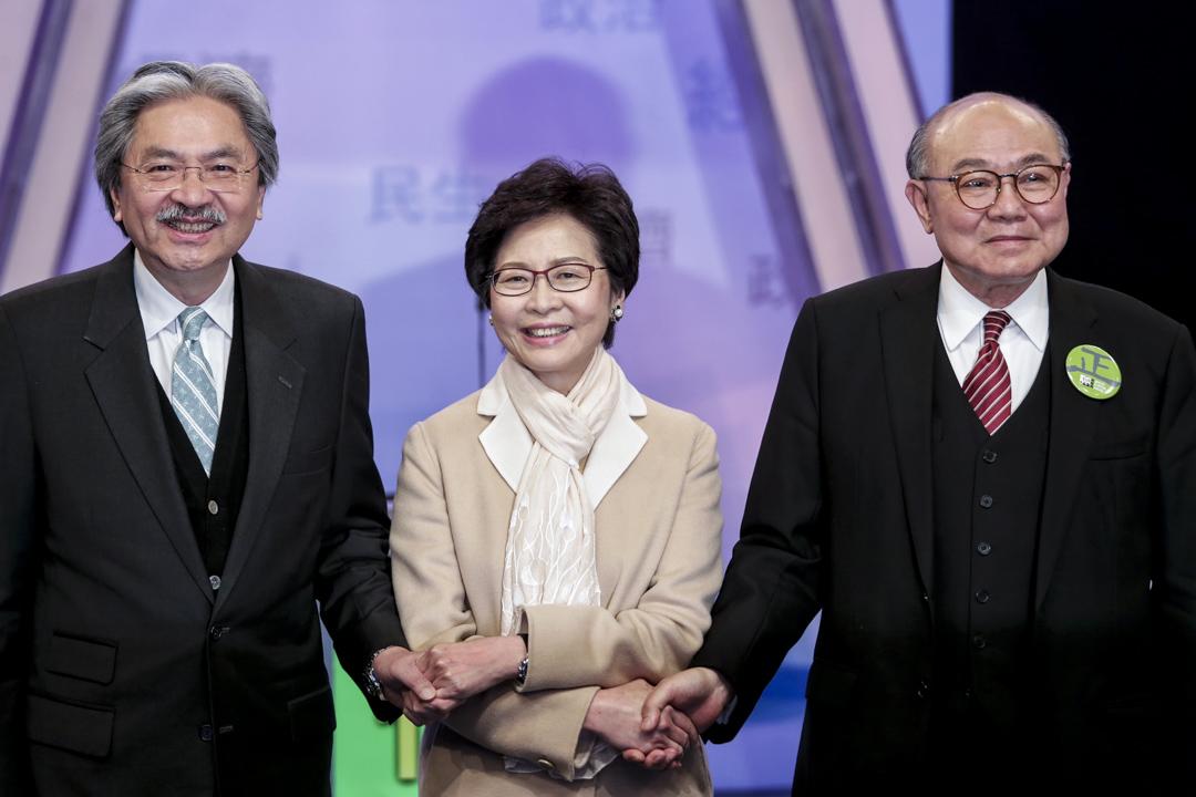 特首候選人曾俊華、林鄭月娥、胡國興出席由七間電子傳媒舉辦的行政長官選舉論壇。