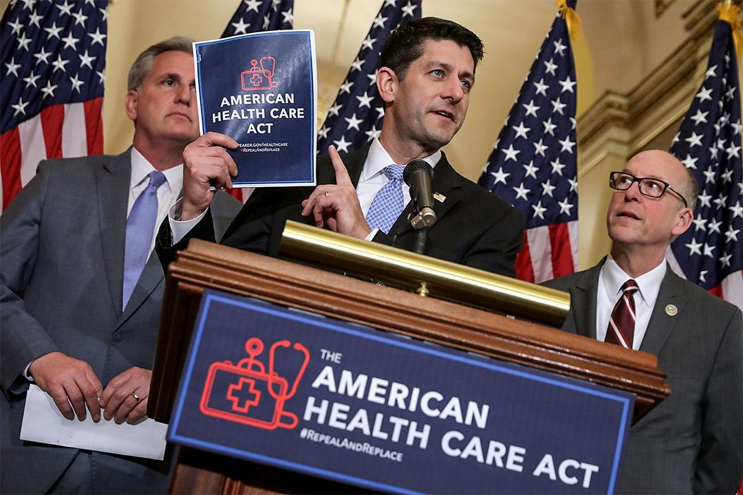 2017年3月7日,美國眾議院議長萊恩 Paul Ryan(中)與為新醫保法案召開新聞發布會。