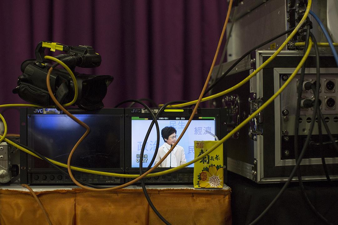 特首候選人林鄭月娥出席七大電子傳媒合辦的選舉論壇。