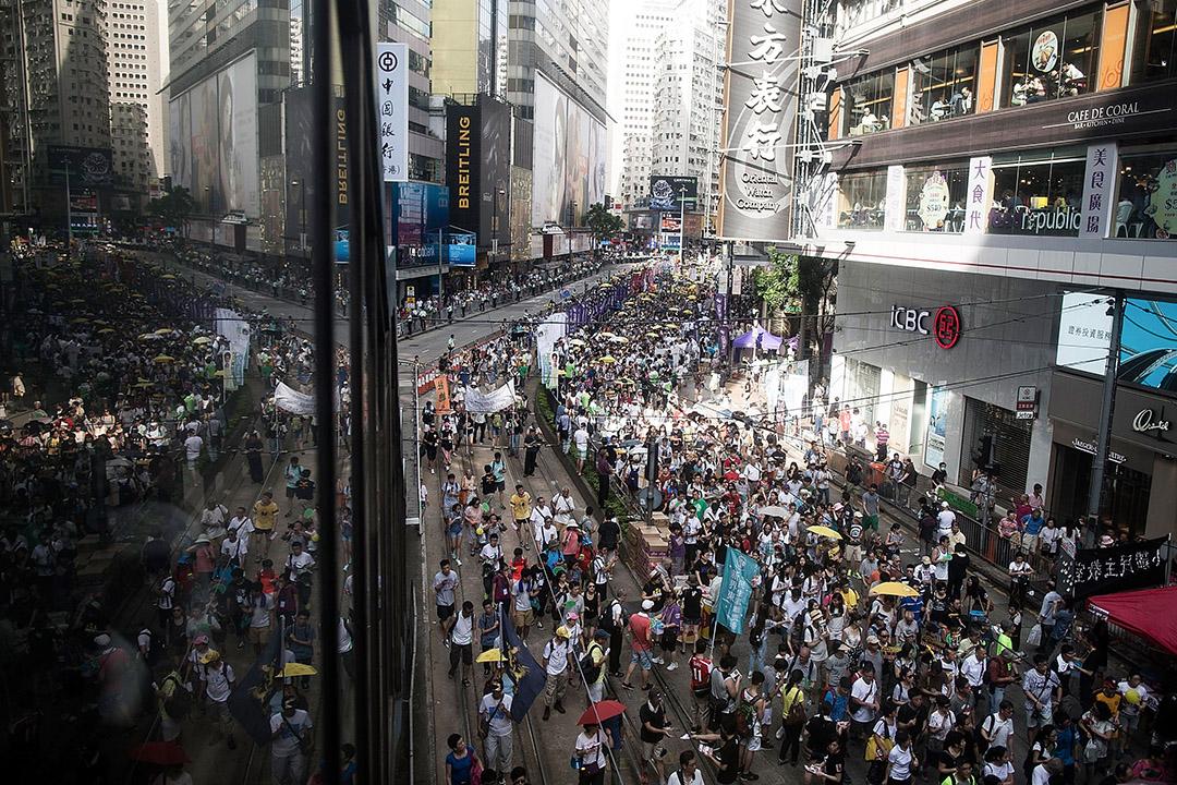 2015年7月1日,示威者參與七一遊行。