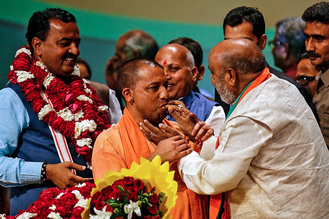 2017年3月18日,北方邦首席部長阿蒂提亞納特(Yogi Adityanath)在首府勒克瑙舉行的集會上。