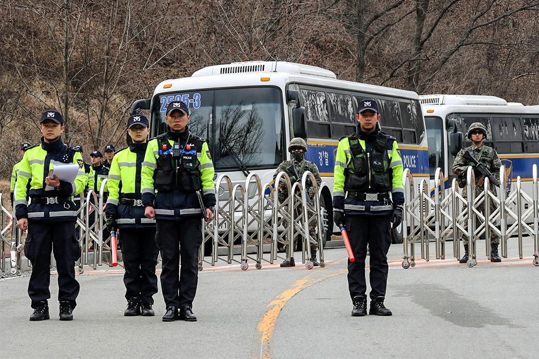 2017年3月1日,韓國警察在樂天擁有的高爾夫球場守衛,這地皮將部署薩德系統。