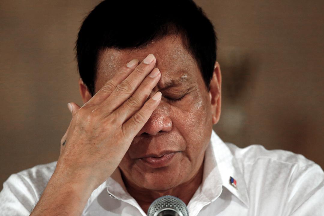 菲律賓總統杜特地3月13日於馬尼拉總統府出席記者會。