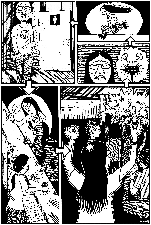 在終章〈金屬頭〉其中一頁是黃駿在一次觀賞地下樂隊表演期間買啤酒、上廁所、上完廁所又買啤酒的經驗。他說,這張圖饒有趣味,但其視覺敘述迴路的表現方式,同時是他在馬尼拉生活的無奈感之寫照。