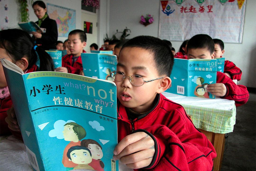 中國一所學校正在進行性教育課堂。
