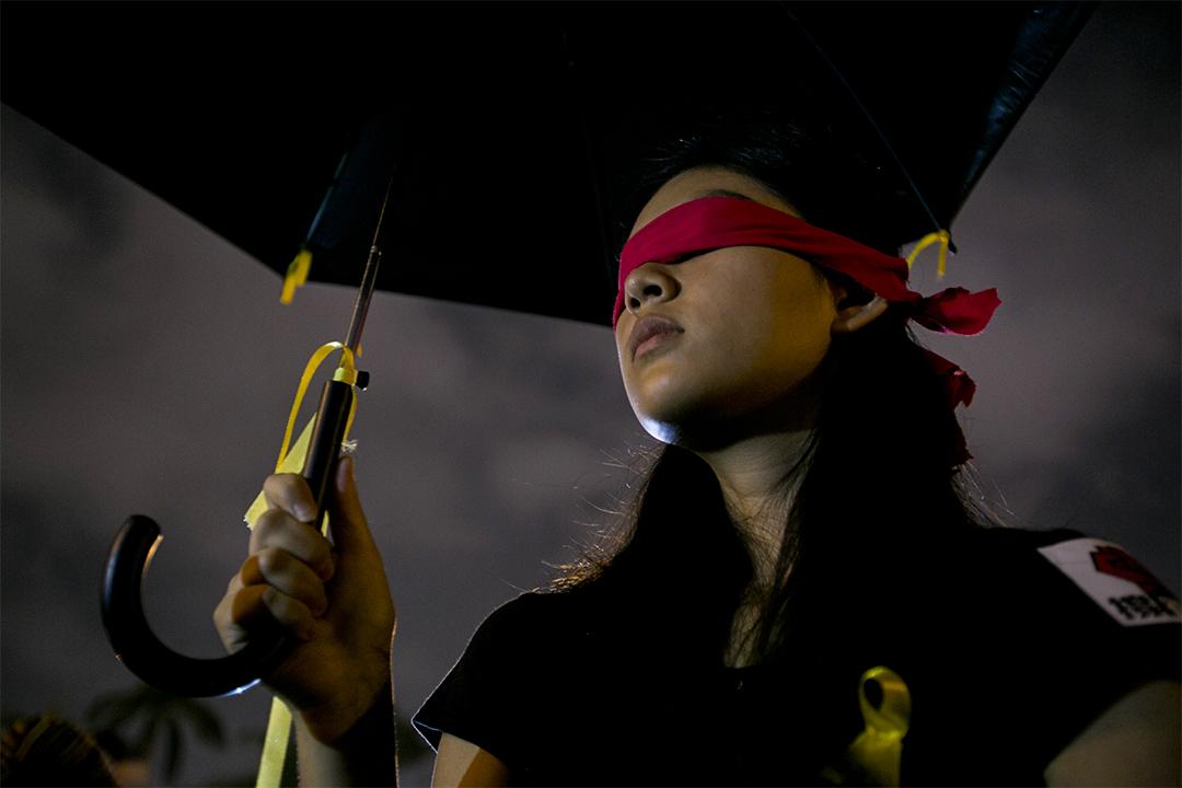 2014年10月1日,有學生在台灣自由廣場前示威,以支持香港爭取普選。