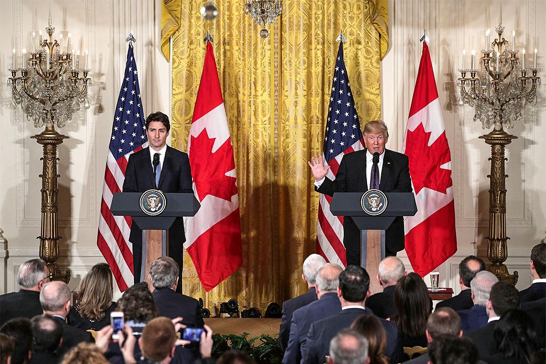 2017年2月13日,加拿大總理特魯多與特朗普出席聯合新聞發布會。