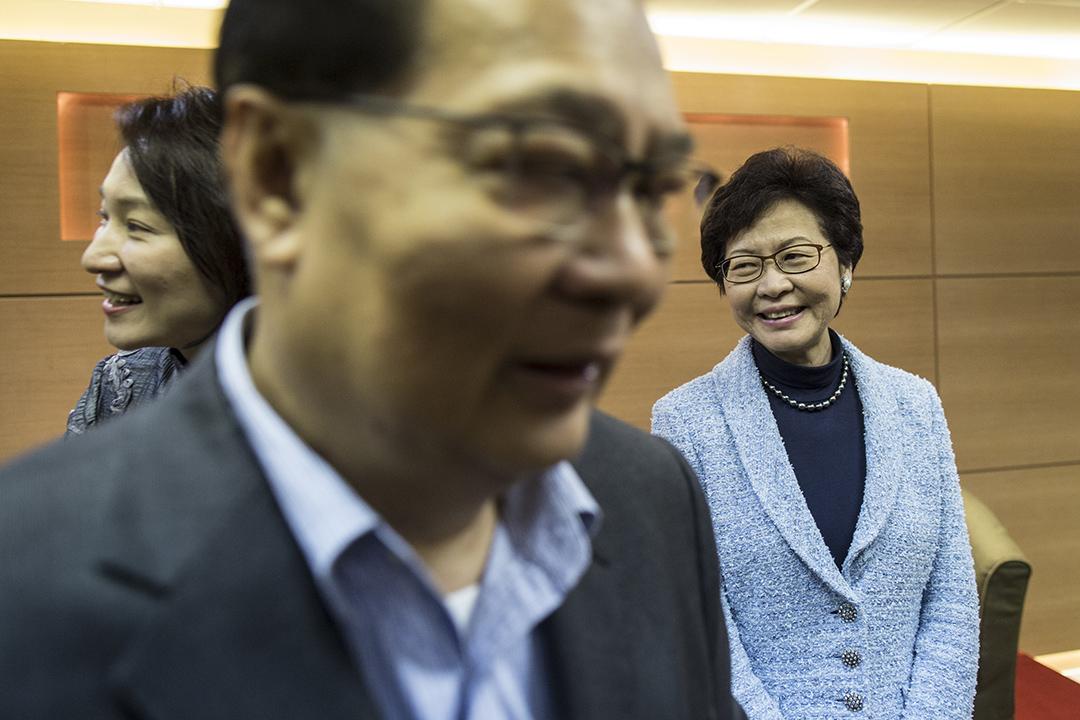 特首候選人林鄭月娥與民建聯選委閉門會面。