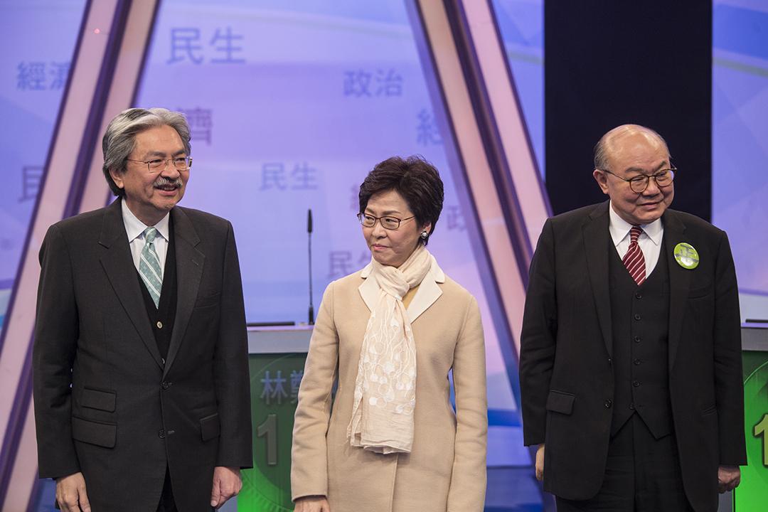 2017年3月14日,三名特首候選人出席七大電子傳媒舉辦的選舉論壇。