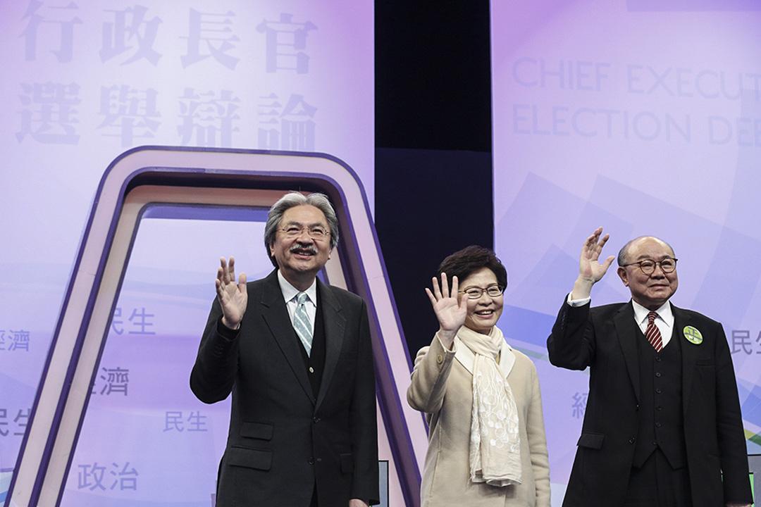 3月14日,三名候選人曾俊華、林鄭月娥和胡國興首次同場辯論。