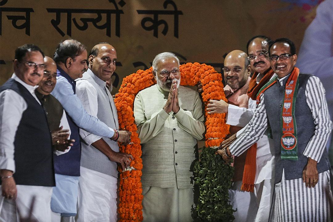 印度人民黨在人口最多的區域大勝。圖為2017年3月12日,印度總理莫迪Narendra Modi於印度人民黨總部。