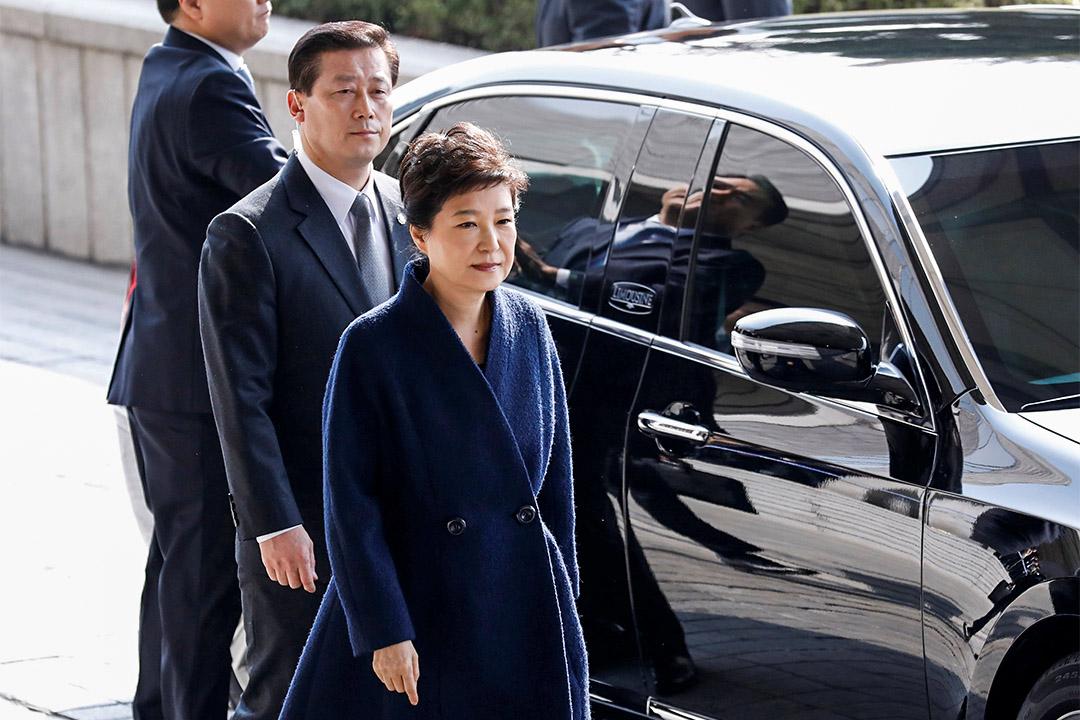 2017年3月21日,南韓遭罷黜的總統朴槿惠抵達首爾中央地方檢察廳應訊。