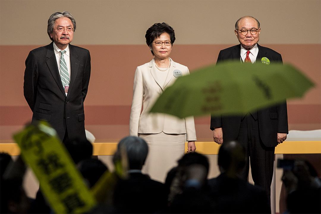 林鄭月娥以約777張選票,當選香港下任特首。