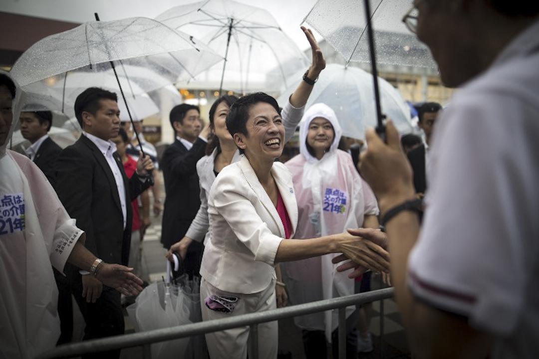 2016年7月9日,蓮舫在日本東京一個眾議院的競選活動中舉行街頭演講,受到市民歡迎。