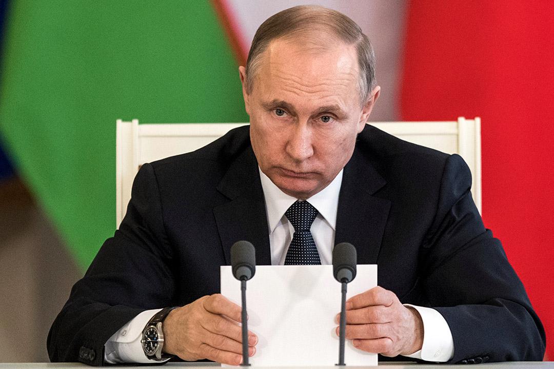 美國國務卿訪俄將不獲普京接見。圖為2017年4月5日,普京出席莫斯科舉行的會議上。
