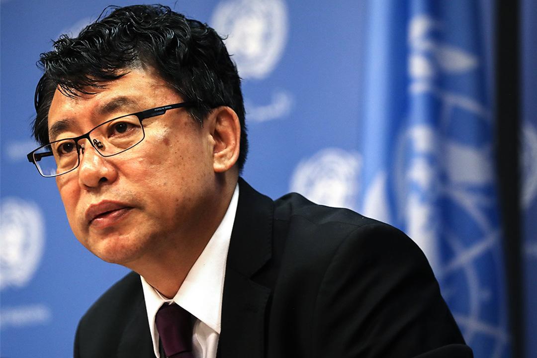2017年4月17日,聯合國副代表金仁龍(Kim In Ryong)在聯合國總部召開記者會。
