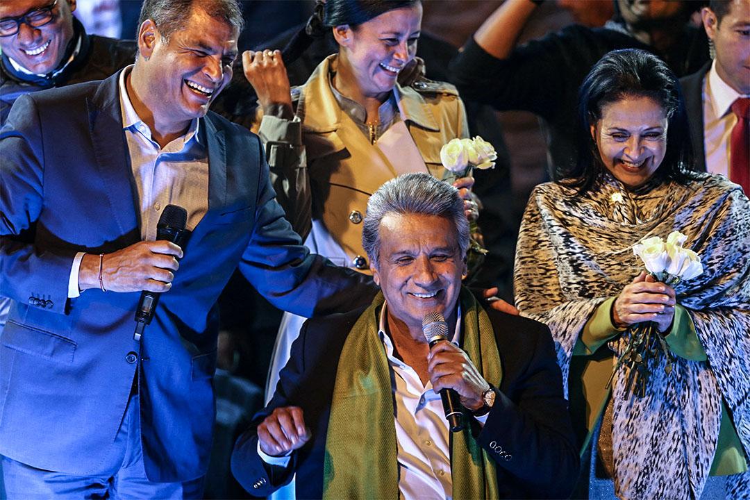 左翼候選人莫雷諾(中)以 2% 的差距領先,官方已宣布莫雷諾勝選。