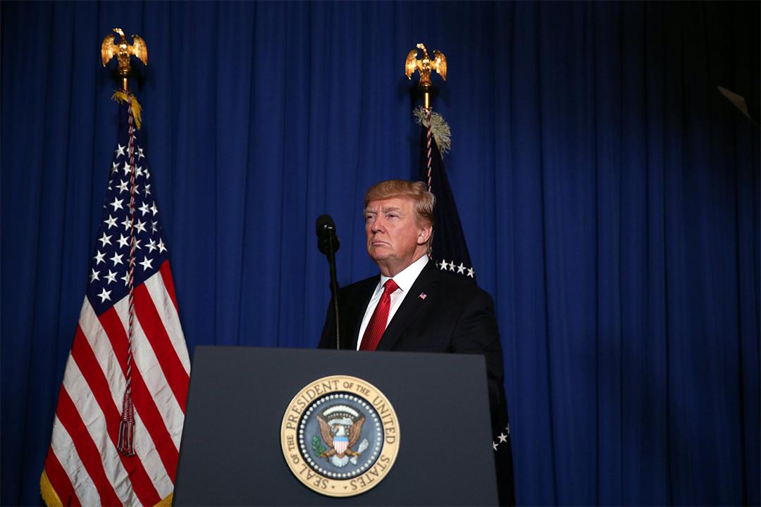 2017年4月6日,美國總統特朗普就向敘利亞發射逾50枚導彈事件發表講話。
