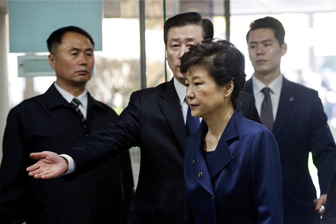 3月30日,朴槿惠在首爾中央地方檢察廳接受審問。