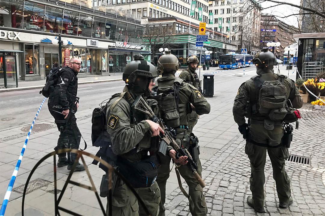2017年4月7日,瑞典斯德哥爾摩有警方巡邏。