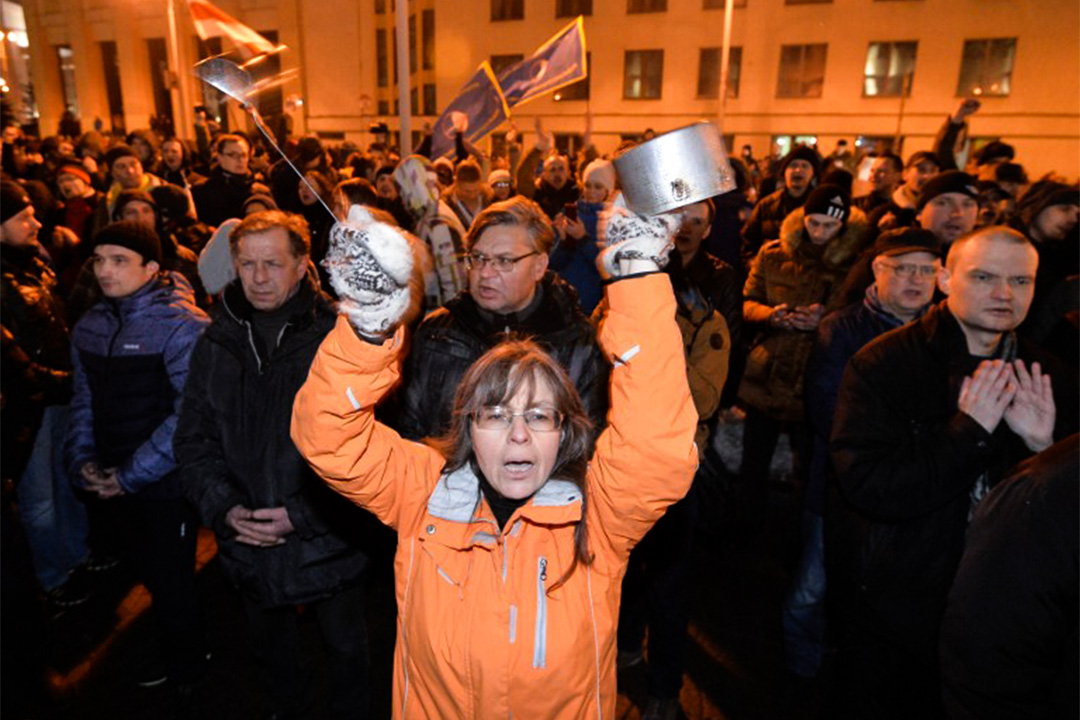 2017年2月17日,白俄羅斯首都明斯克爆發大規模反政府遊行,反對政府收「寄生蟲税」。