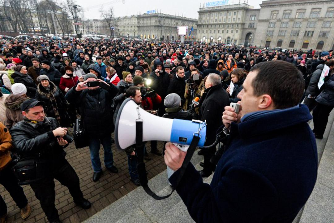 「憤怒的白俄羅斯人遊行」中,大概有2千人參加。