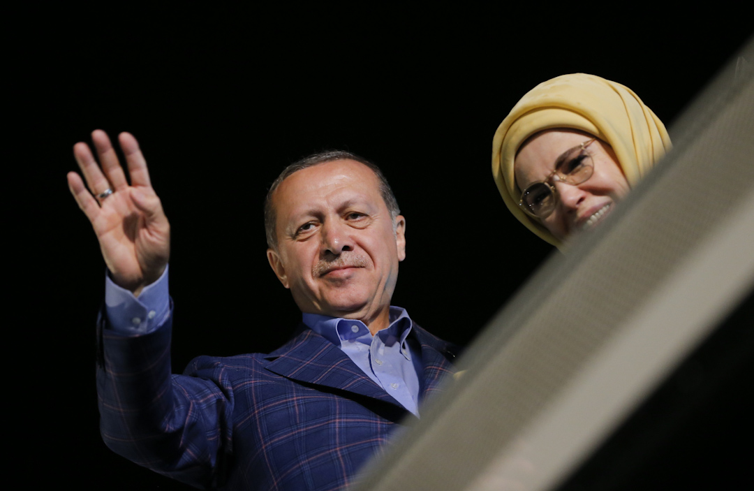 土耳其總統埃爾多安出席其支持者的集會。