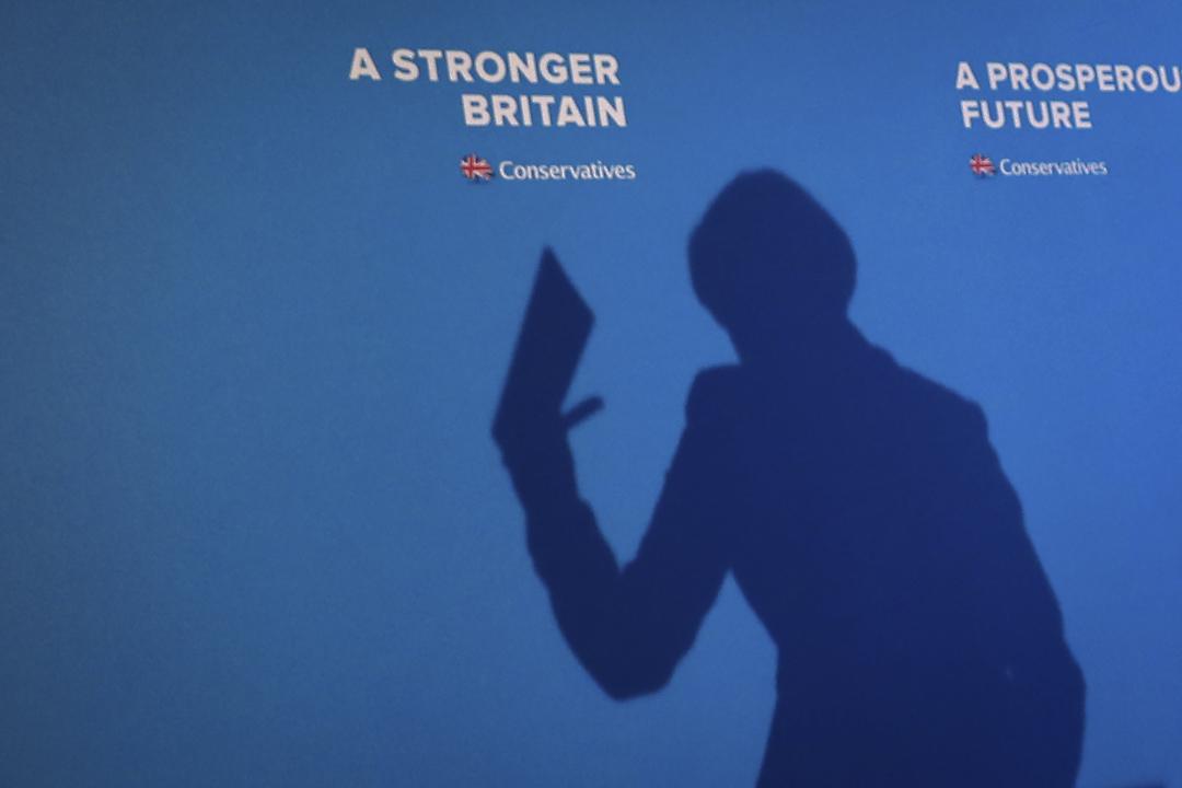 2017年5月18日,在英國哈利法克斯,英國首相文翠珊發布保守黨的競選宣言。